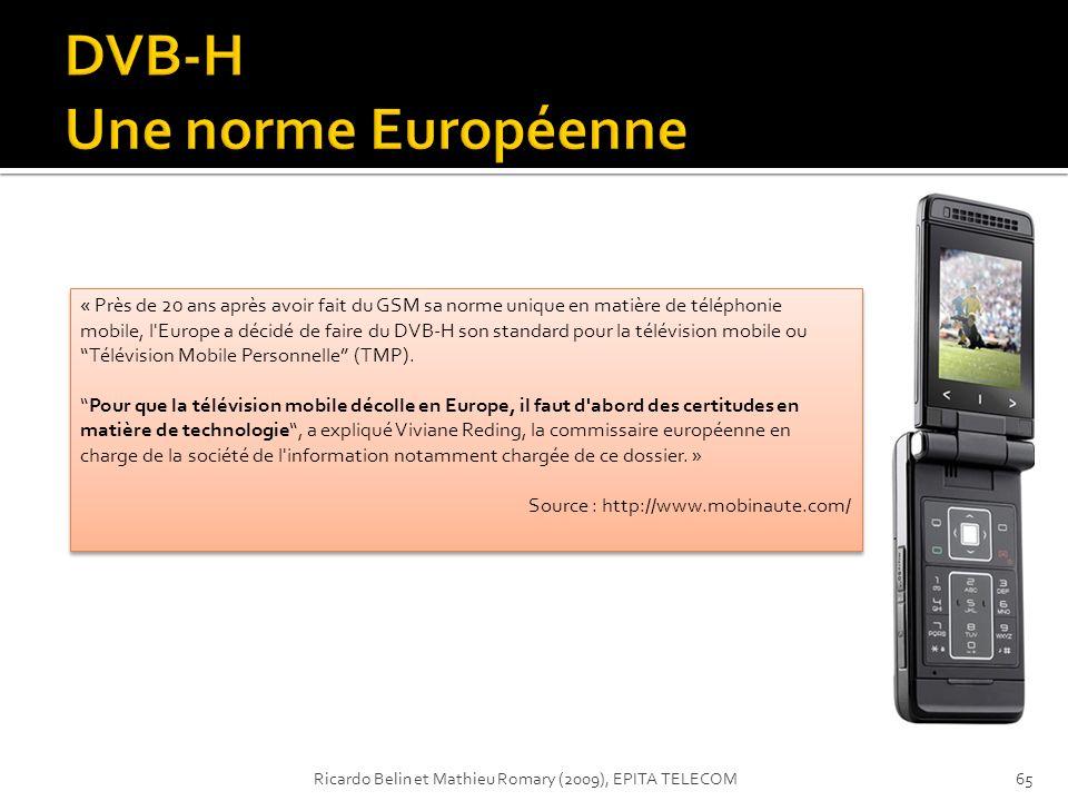 « Près de 20 ans après avoir fait du GSM sa norme unique en matière de téléphonie mobile, l'Europe a décidé de faire du DVB-H son standard pour la tél