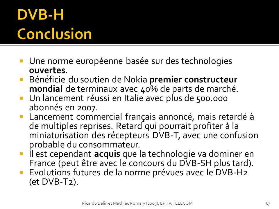 Une norme européenne basée sur des technologies ouvertes. Bénéficie du soutien de Nokia premier constructeur mondial de terminaux avec 40% de parts de