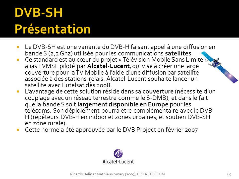 Le DVB-SH est une variante du DVB-H faisant appel à une diffusion en bande S (2,2 Ghz) utilisée pour les communications satellites. Ce standard est au