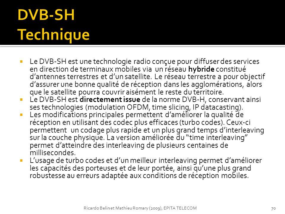 Le DVB-SH est une technologie radio conçue pour diffuser des services en direction de terminaux mobiles via un réseau hybride constitué dantennes terr