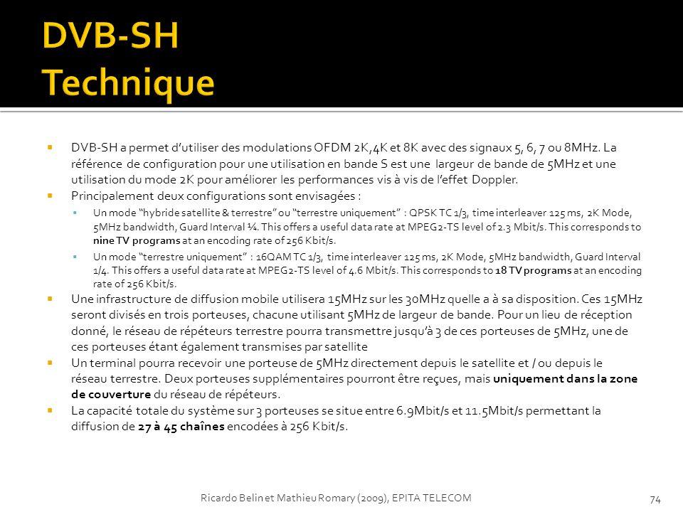 DVB-SH a permet dutiliser des modulations OFDM 2K,4K et 8K avec des signaux 5, 6, 7 ou 8MHz. La référence de configuration pour une utilisation en ban