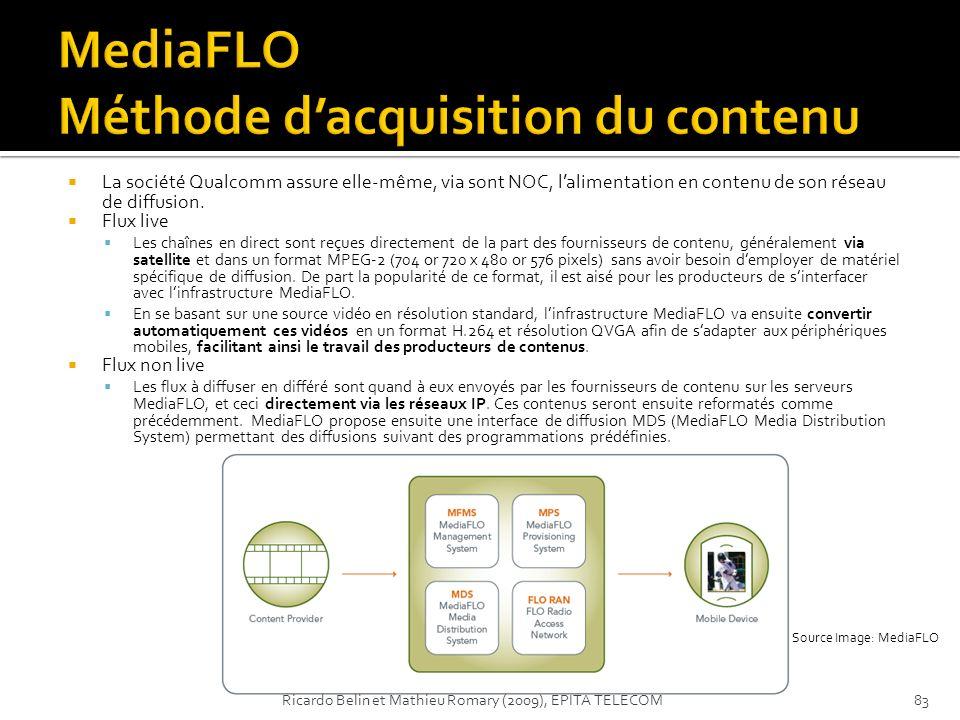 La société Qualcomm assure elle-même, via sont NOC, lalimentation en contenu de son réseau de diffusion. Flux live Les chaînes en direct sont reçues d
