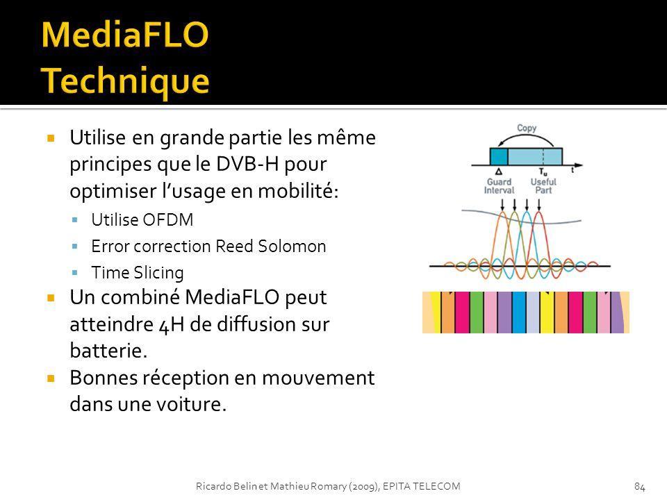 Utilise en grande partie les même principes que le DVB-H pour optimiser lusage en mobilité: Utilise OFDM Error correction Reed Solomon Time Slicing Un