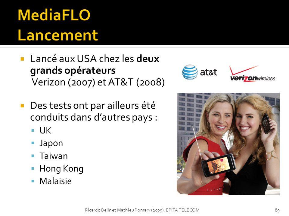 Lancé aux USA chez les deux grands opérateurs Verizon (2007) et AT&T (2008) Des tests ont par ailleurs été conduits dans dautres pays : UK Japon Taiwa