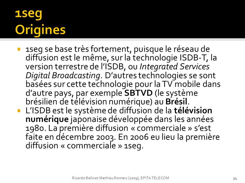 1seg se base très fortement, puisque le réseau de diffusion est le même, sur la technologie ISDB-T, la version terrestre de lISDB, ou Integrated Servi