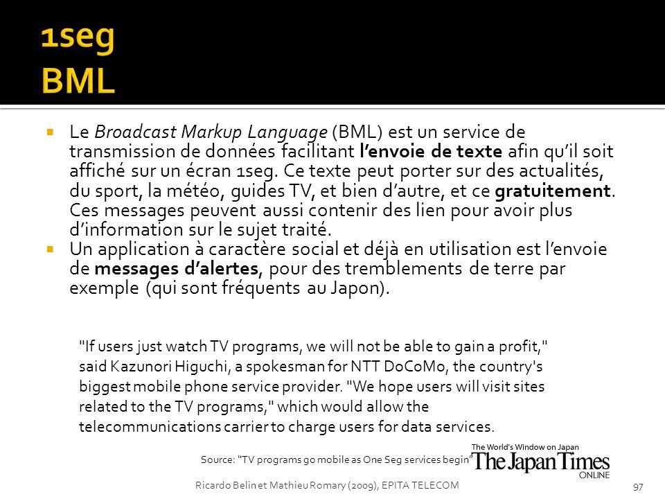 Le Broadcast Markup Language (BML) est un service de transmission de données facilitant lenvoie de texte afin quil soit affiché sur un écran 1seg. Ce