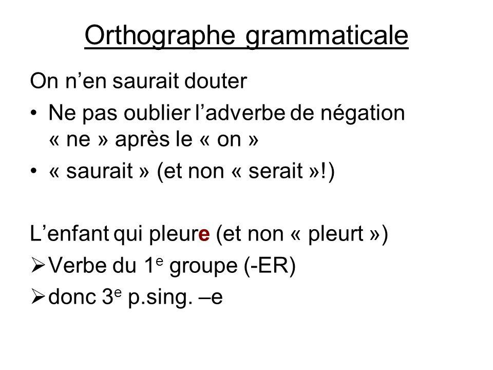 Orthographe grammaticale On nen saurait douter Ne pas oublier ladverbe de négation « ne » après le « on » « saurait » (et non « serait »!) Lenfant qui