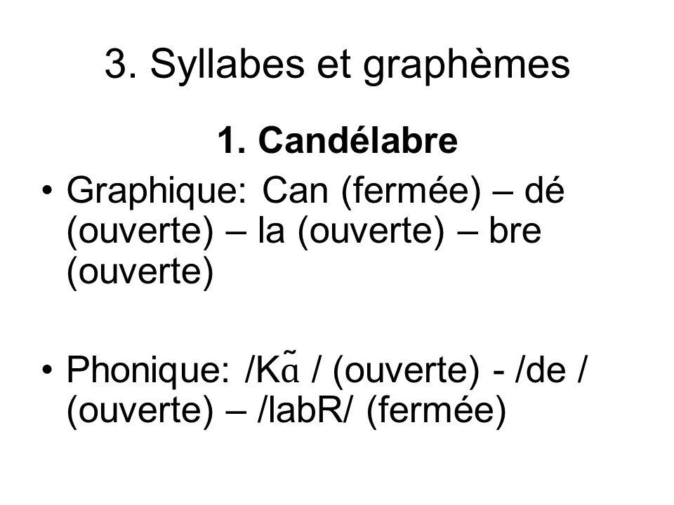 3. Syllabes et graphèmes 1. Candélabre Graphique: Can (fermée) – dé (ouverte) – la (ouverte) – bre (ouverte) Phonique: /K ɑ ̃ / (ouverte) - /de / (ouv