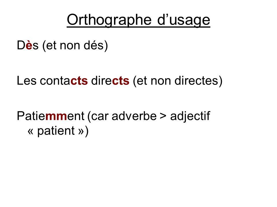 Orthographe dusage Dès (et non dés) Les contacts directs (et non directes) Patiemment (car adverbe > adjectif « patient »)