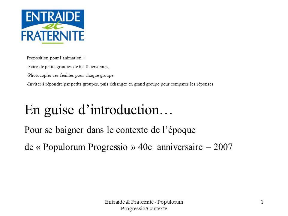 Entraide & Fraternité - Populorum Progressio/Contexte 12 5.