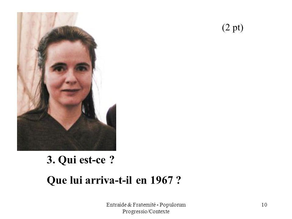 Entraide & Fraternité - Populorum Progressio/Contexte 10 3. Qui est-ce ? Que lui arriva-t-il en 1967 ? (2 pt)