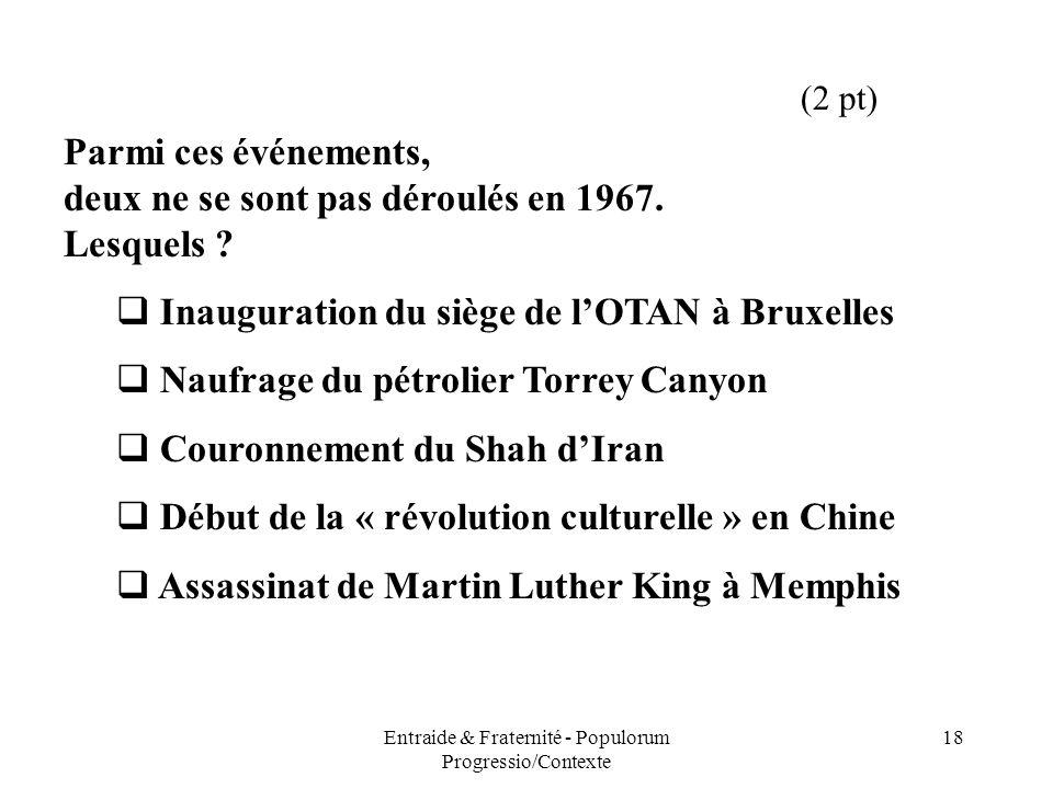 Entraide & Fraternité - Populorum Progressio/Contexte 18 Parmi ces événements, deux ne se sont pas déroulés en 1967. Lesquels ? Inauguration du siège