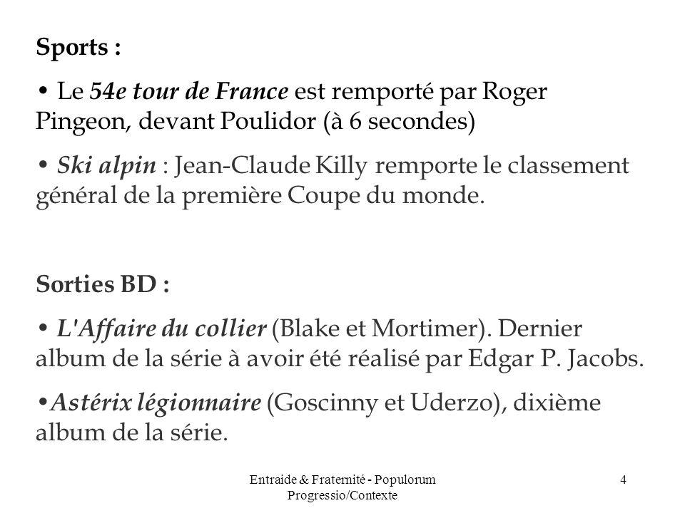 Entraide & Fraternité - Populorum Progressio/Contexte 4 Sports : Le 54e tour de France est remporté par Roger Pingeon, devant Poulidor (à 6 secondes)