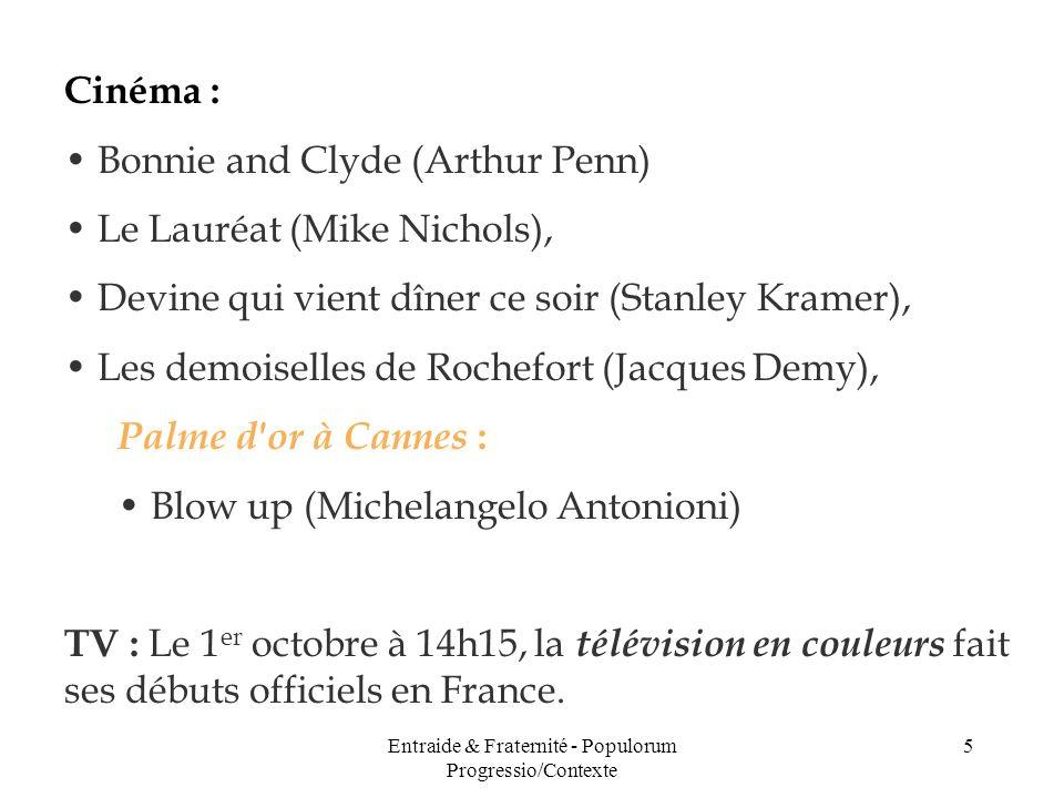 Entraide & Fraternité - Populorum Progressio/Contexte 5 Cinéma : Bonnie and Clyde (Arthur Penn) Le Lauréat (Mike Nichols), Devine qui vient dîner ce s