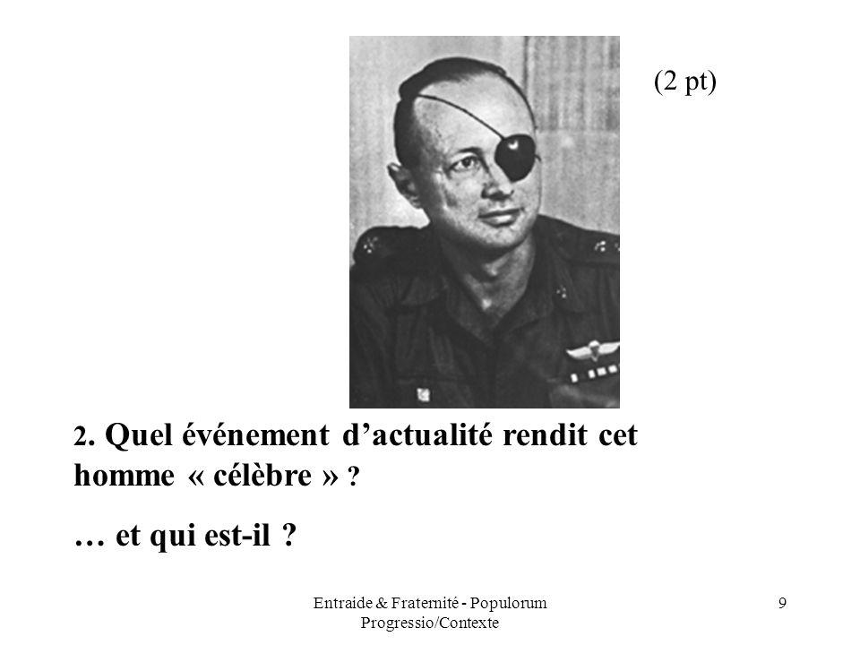 Entraide & Fraternité - Populorum Progressio/Contexte 9 2. Quel événement dactualité rendit cet homme « célèbre » ? … et qui est-il ? (2 pt)