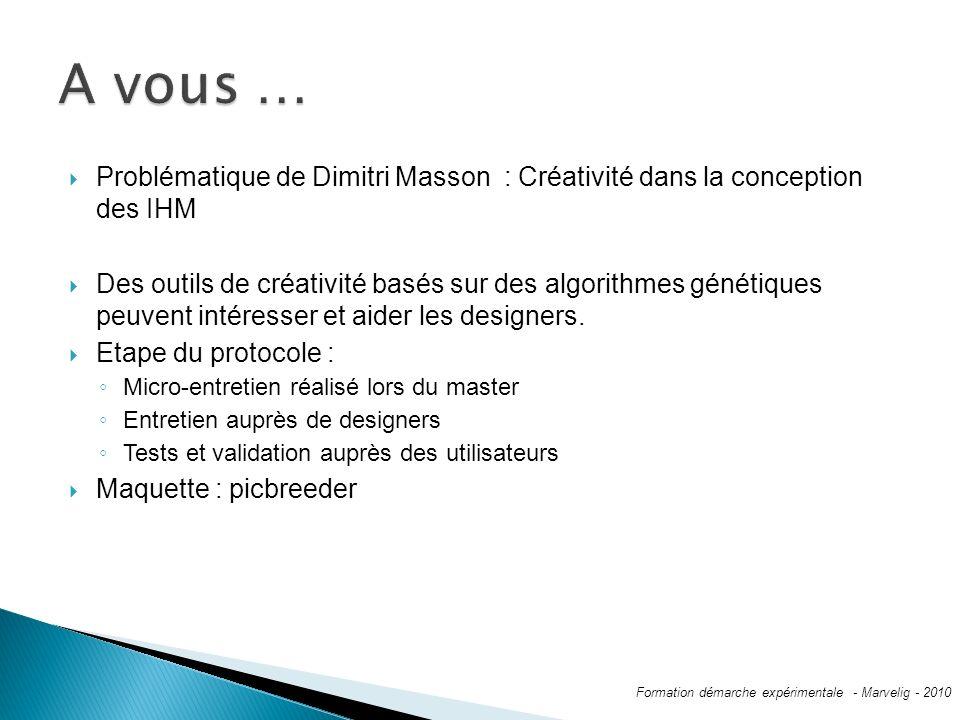 Problématique de Dimitri Masson : Créativité dans la conception des IHM Des outils de créativité basés sur des algorithmes génétiques peuvent intéresser et aider les designers.