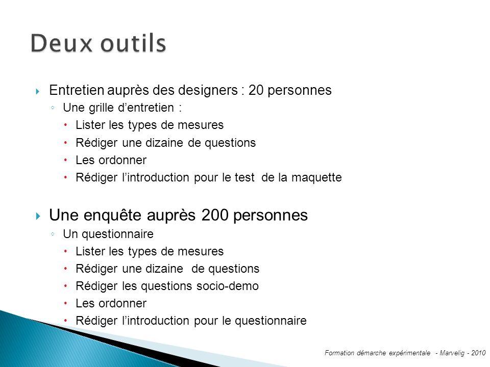 Entretien auprès des designers : 20 personnes Une grille dentretien : Lister les types de mesures Rédiger une dizaine de questions Les ordonner Rédige