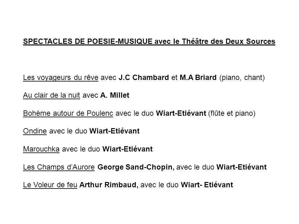 SPECTACLES DE POESIE-MUSIQUE avec le Théâtre des Deux Sources Les voyageurs du rêve avec J.C Chambard et M.A Briard (piano, chant) Au clair de la nuit avec A.