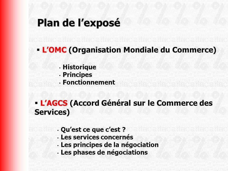 Plan de lexposé LOMC LOMC (Organisation Mondiale du Commerce) Historique Principes Fonctionnement LAGCS LAGCS (Accord Général sur le Commerce des Services) Quest ce que cest .