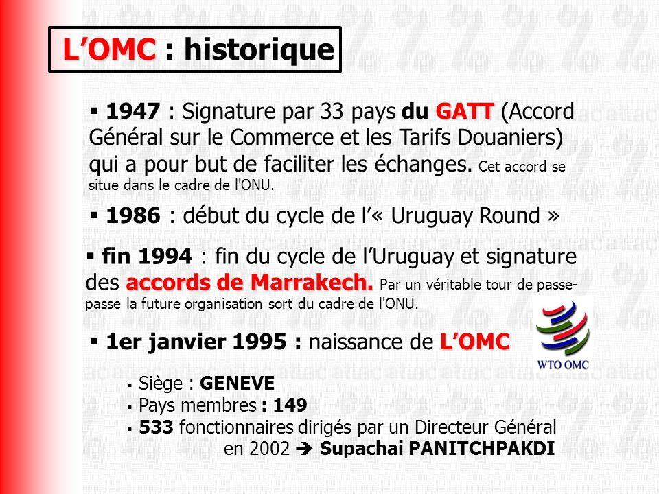 LOMC LOMC : historique GATT 1947 : Signature par 33 pays du GATT (Accord Général sur le Commerce et les Tarifs Douaniers) qui a pour but de faciliter les échanges.