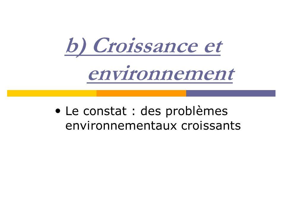 b) Croissance et environnement Le constat : des problèmes environnementaux croissants