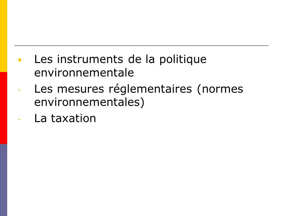 Les instruments de la politique environnementale - Les mesures réglementaires (normes environnementales) - La taxation