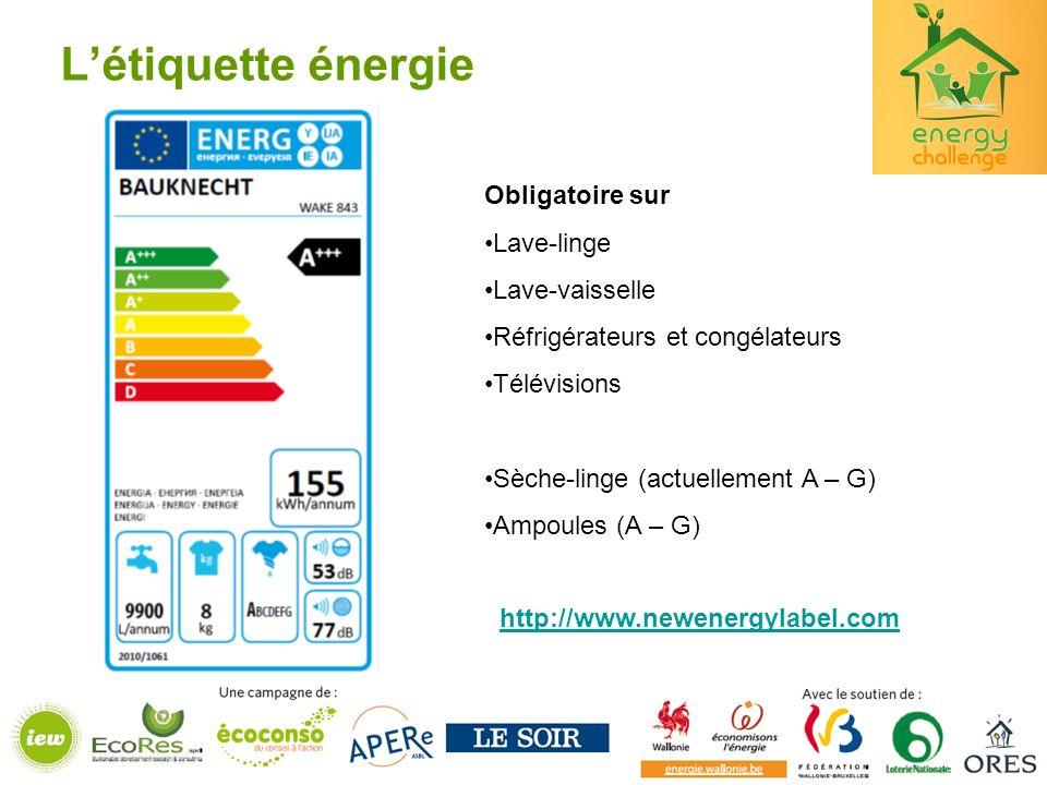Létiquette énergie Obligatoire sur Lave-linge Lave-vaisselle Réfrigérateurs et congélateurs Télévisions Sèche-linge (actuellement A – G) Ampoules (A – G) http://www.newenergylabel.com
