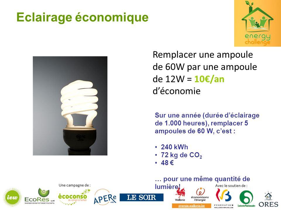 Eclairage économique Sur une année (durée déclairage de 1.000 heures), remplacer 5 ampoules de 60 W, cest : 240 kWh 72 kg de CO 2 48 … pour une même quantité de lumière.