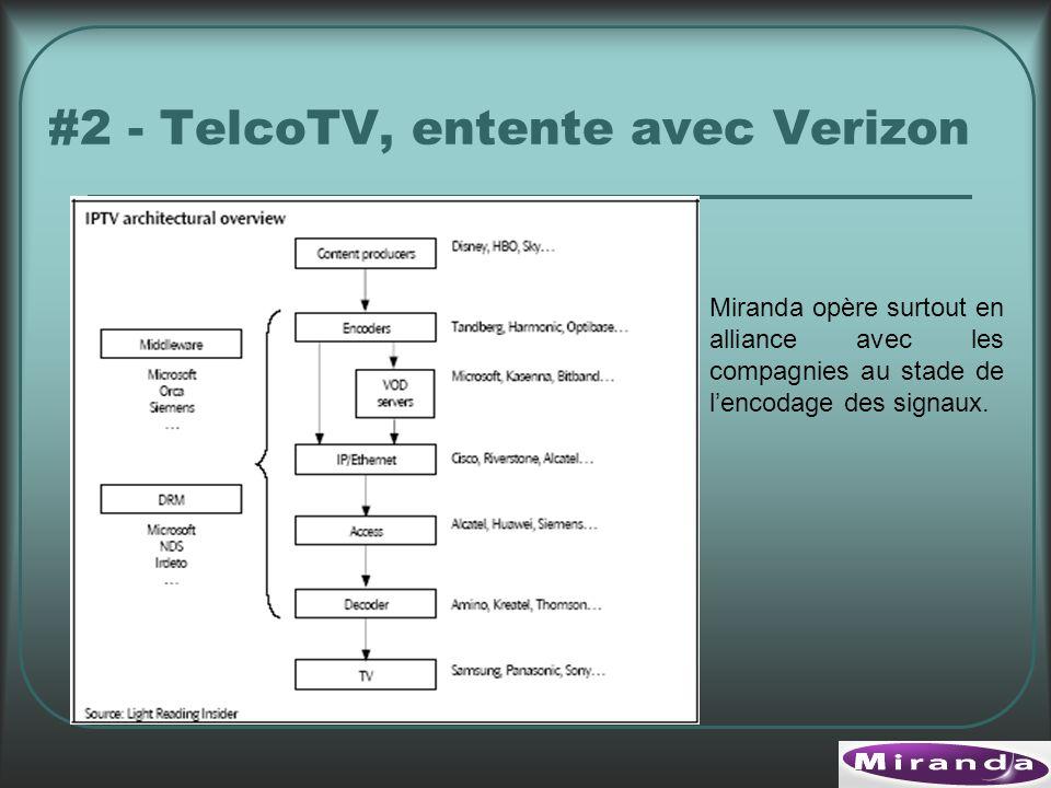 #2 - TelcoTV, entente avec Verizon Miranda opère surtout en alliance avec les compagnies au stade de lencodage des signaux.