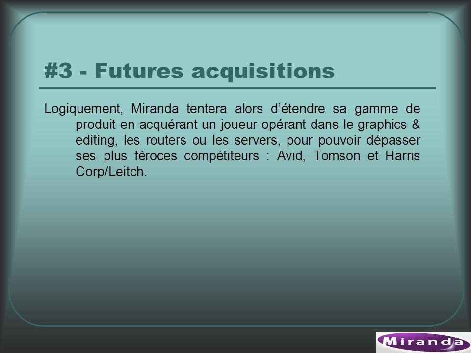 Logiquement, Miranda tentera alors détendre sa gamme de produit en acquérant un joueur opérant dans le graphics & editing, les routers ou les servers, pour pouvoir dépasser ses plus féroces compétiteurs : Avid, Tomson et Harris Corp/Leitch.