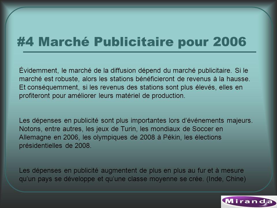 #4 Marché Publicitaire pour 2006 Évidemment, le marché de la diffusion dépend du marché publicitaire.