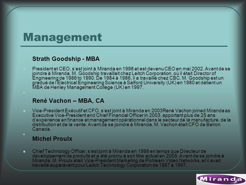Management Strath Goodship - MBA President et CEO, sest joint à Miranda en 1998 et est devenu CEO en mai 2002.