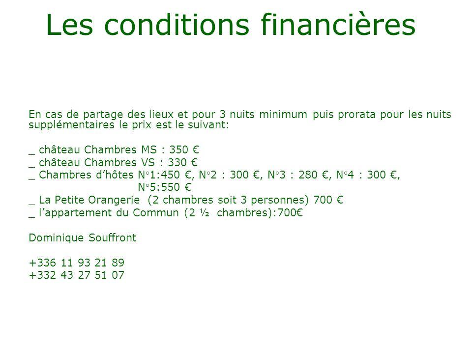 Les conditions financières En cas de partage des lieux et pour 3 nuits minimum puis prorata pour les nuits supplémentaires le prix est le suivant: _ c