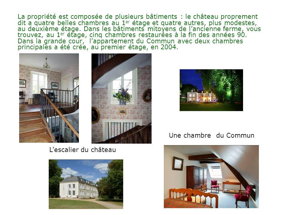 La propriété est composée de plusieurs bâtiments : le château proprement dit a quatre belles chambres au 1 er étage et quatre autres, plus modestes, au deuxième étage.
