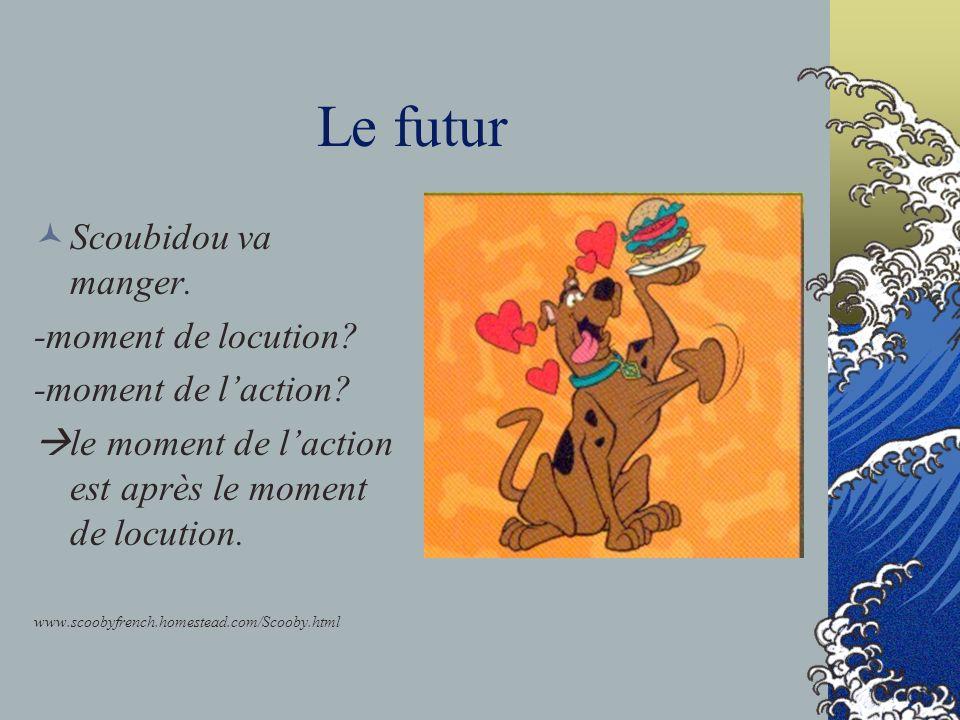 Le futur Scoubidou va manger. -moment de locution? -moment de laction? le moment de laction est après le moment de locution. www.scoobyfrench.homestea