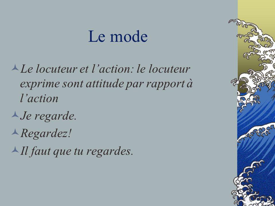 Le mode Le locuteur et laction: le locuteur exprime sont attitude par rapport à laction Je regarde. Regardez! Il faut que tu regardes.