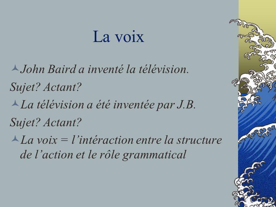 La voix John Baird a inventé la télévision. Sujet? Actant? La télévision a été inventée par J.B. Sujet? Actant? La voix = lintéraction entre la struct