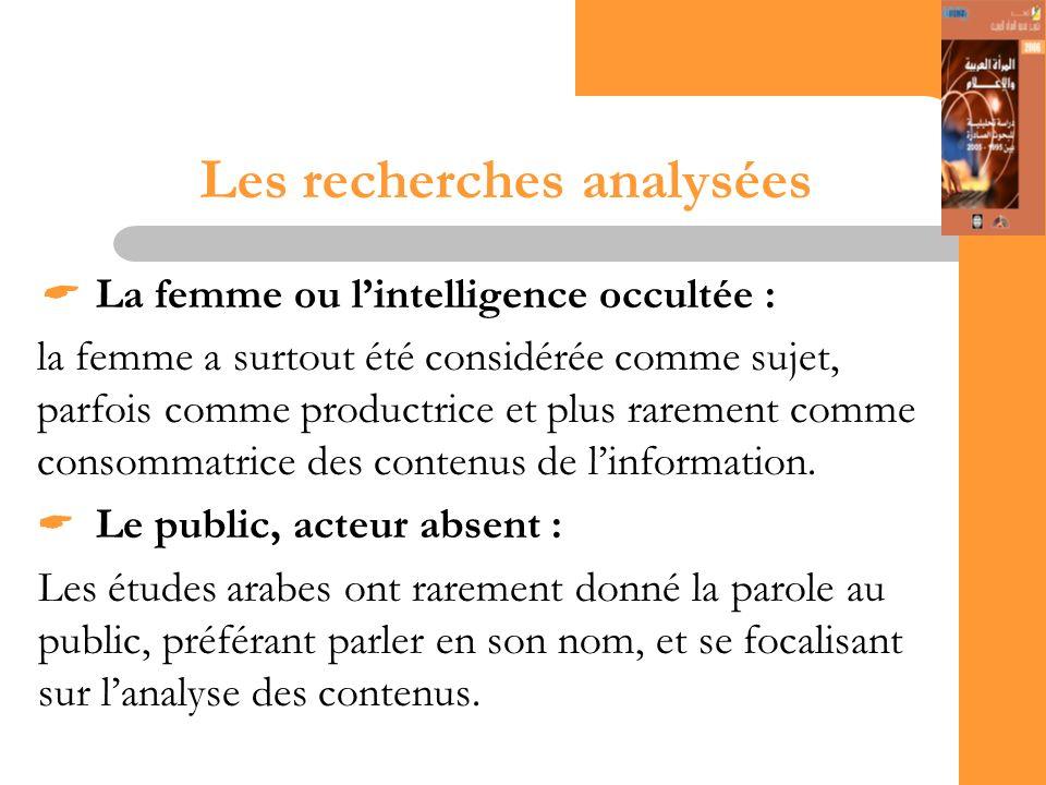 15 Les recherches analysées La femme ou lintelligence occultée : la femme a surtout été considérée comme sujet, parfois comme productrice et plus rarement comme consommatrice des contenus de linformation.