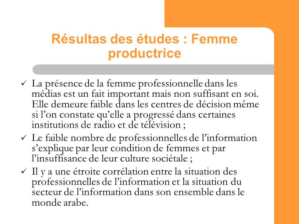 21 Résultas des études : Femme productrice La présence de la femme professionnelle dans les médias est un fait important mais non suffisant en soi.