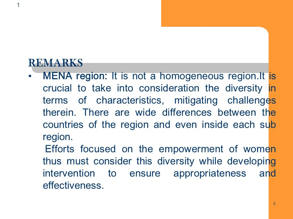 6 6 1 REMARKS MENA region: It is not a homogeneous region.It is crucial to take into consideration the diversity in terms of characteristics, mitigating challenges therein.
