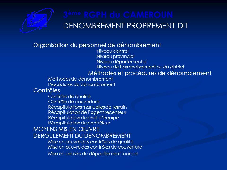 DENOMBREMENT PROPREMENT DIT 3 ème RGPH du CAMEROUN Organisation du personnel de dénombrement Niveau central Niveau provincial Niveau départemental Niveau de larrondissement ou du district Méthodes et procédures de dénombrement Méthodes de dénombrement Procédures de dénombrement Contrôles Contrôle de qualité Contrôle de couverture Récapitulations manuelles de terrain Récapitulation de lagent recenseur Récapitulation du chef déquipe Récapitulation du contrôleur MOYENS MIS EN ŒUVRE DEROULEMENT DU DENOMBREMENT Mise en œuvre des contrôles de qualité Mise en œuvre des contrôles de couverture Mise en oeuvre du dépouillement manuel