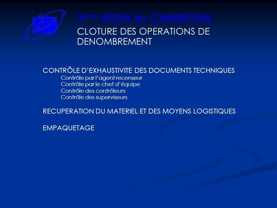 CLOTURE DES OPERATIONS DE DENOMBREMENT 3 ème RGPH du CAMEROUN CONTRÔLE DEXHAUSTIVITE DES DOCUMENTS TECHNIQUES Contrôle par lagent recenseur Contrôle p