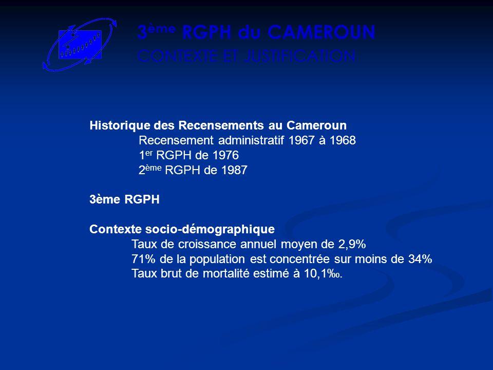 Historique des Recensements au Cameroun Recensement administratif 1967 à 1968 1 er RGPH de 1976 2 ème RGPH de 1987 3ème RGPH Contexte socio-démographique Taux de croissance annuel moyen de 2,9% 71% de la population est concentrée sur moins de 34% Taux brut de mortalité estimé à 10,1.