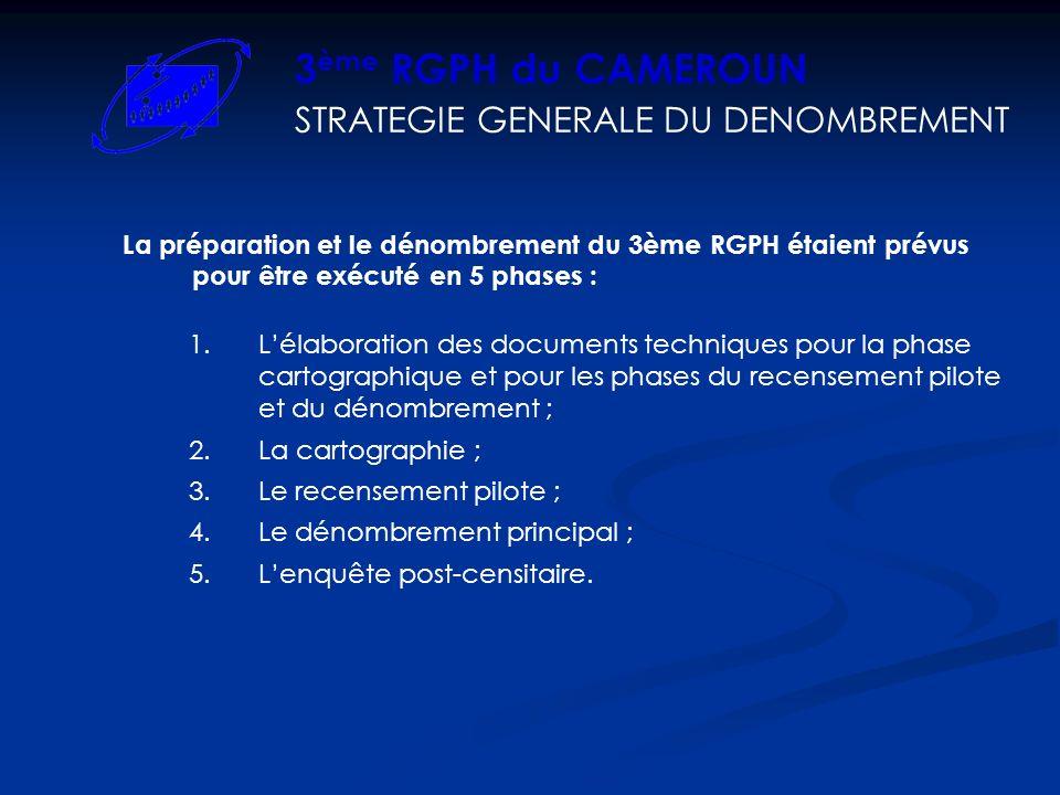 La préparation et le dénombrement du 3ème RGPH étaient prévus pour être exécuté en 5 phases : STRATEGIE GENERALE DU DENOMBREMENT 3 ème RGPH du CAMEROU