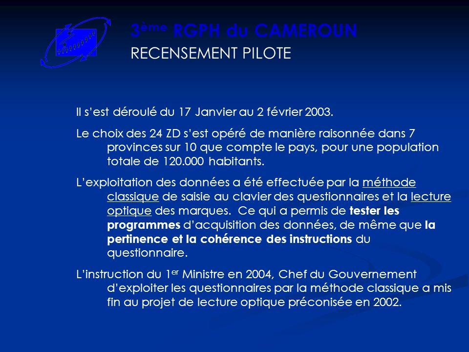 RECENSEMENT PILOTE 3 ème RGPH du CAMEROUN Il sest déroulé du 17 Janvier au 2 février 2003. Le choix des 24 ZD sest opéré de manière raisonnée dans 7 p