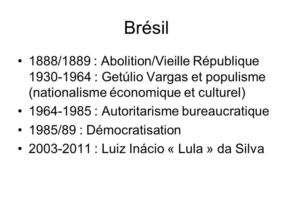 1930-1960: Populisme (Les Peróns en Argentine; Cárdenas au Méxique; Grau San Martín, Batista à Cuba) 1943-1947: Printemps Démocratique (5 democracies entre 20 pays en 1943; 15 en 1947) 1947: Changement de Politique EU-LA: du bon voisin à la doctrine de sécurité nationale