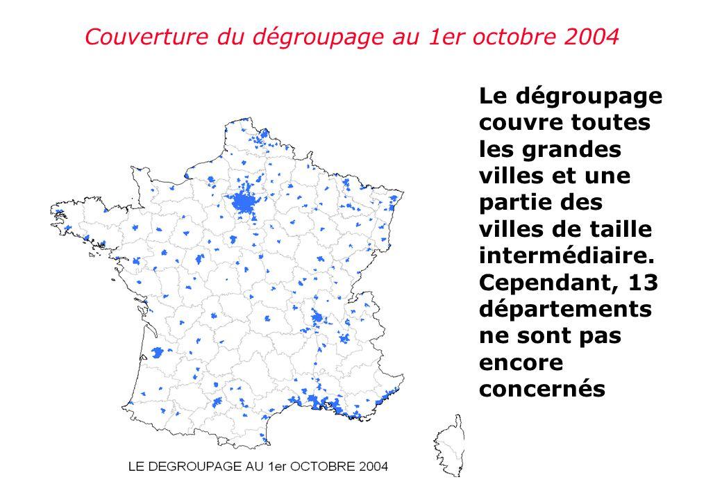 Couverture du dégroupage au 1er octobre 2004 Le dégroupage couvre toutes les grandes villes et une partie des villes de taille intermédiaire.