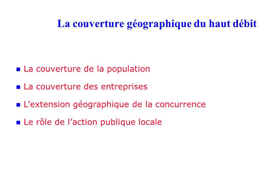 La couverture géographique du haut débit La couverture de la population La couverture des entreprises Lextension géographique de la concurrence Le rôle de laction publique locale