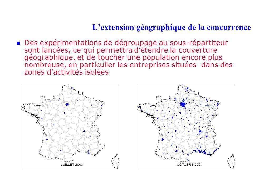 Lextension géographique de la concurrence Des expérimentations de dégroupage au sous-répartiteur sont lancées, ce qui permettra détendre la couverture géographique, et de toucher une population encore plus nombreuse, en particulier les entreprises situées dans des zones dactivités isolées
