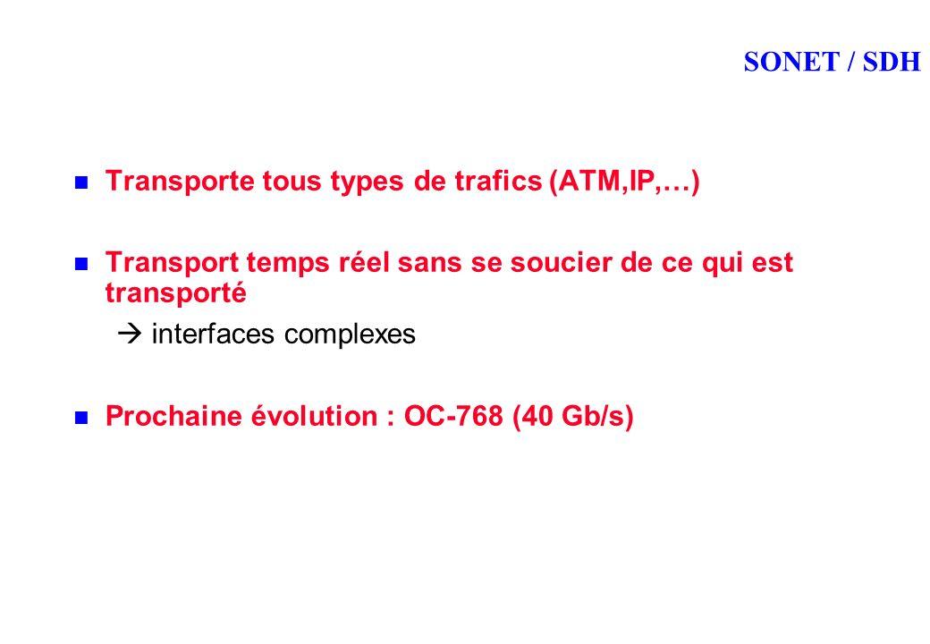 SONET / SDH Transporte tous types de trafics (ATM,IP,…) Transport temps réel sans se soucier de ce qui est transporté interfaces complexes Prochaine évolution : OC-768 (40 Gb/s)